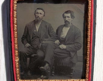 Half Case Tintype Two Guys Frozen in Time
