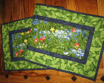 """Wildflower Quilted Table Runner, Blue Red Yellow Flowers, 14 x 47"""" or 14 x 70"""", Reversible, 100% cotton fabrics"""
