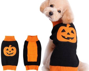 Pumpkin Knit Sweater Warm Clothes Party Halloween Costume Pet Dogs