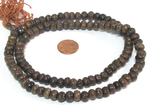 108 beads mala supplies Tibetan carved circles dotted dark brown color  bone beads 8 mm size - ML107A
