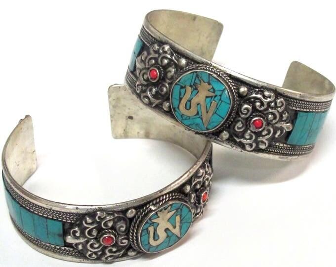 Beautiful Tibetan Om dorje  turquoise inlaid adjustable cuff bracelet Handmade in Nepal - JM009B