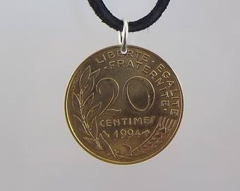 1994 French Coin Necklace, 20 Centimes, Coin Pendant, Mens Necklace, Womens Necklace, Leather Cord, Vintage, Birth Year
