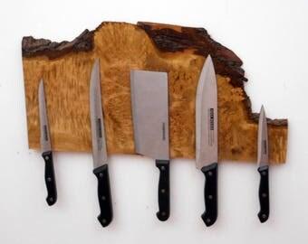 Oregon Burl Live Edge Natural Wood Knife holder, Strong Magnetic Knife Holder, Neodymium Magnets Housewarming Gift, Knife Rack, Wood Art,