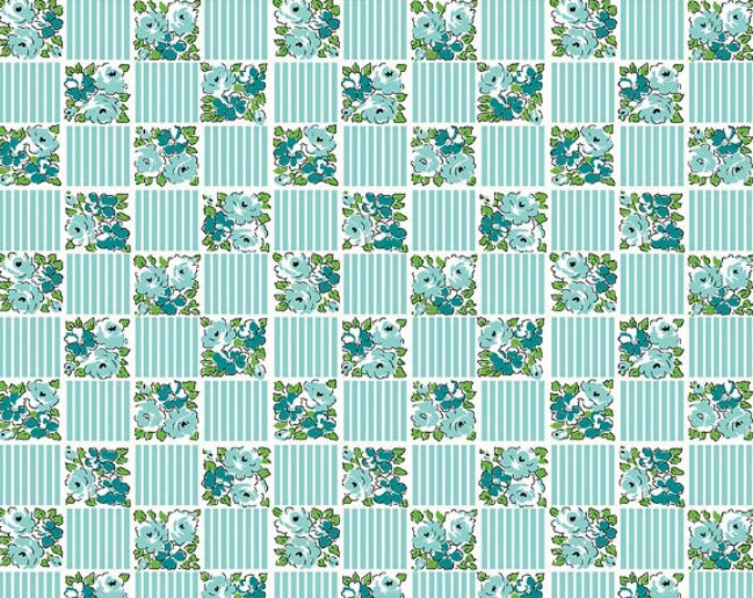 Dainty Darling Fabric by Lindsay Wilkes from The Cottage Mama for Riley Blake Designs and Penny Rose Fabrics - Teal Check