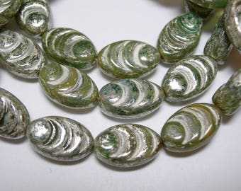 12 beads -  Czech Glass Green mix with Silver wash Oval Grooved Beads 13x8mm