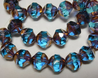 15 8mm Capri Blue with Gold faceted Firepolished Thru Cuts Czech Glass Beads