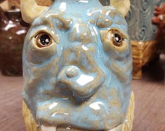 Icy Blue, Horned Ogre Face Jug
