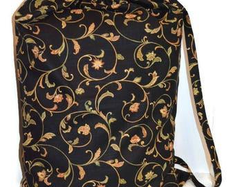 Laundry Bag, Duffle Bag, Storage Bag, Clothing Bag, Designer Laundry Bag, Black Floral Laundry Bag, Extra Large Laundry Bag