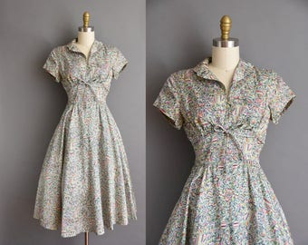 vintage 1950s dress. Jonathan Logan 50s silk abstract full skirt vintage dress