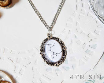 Antique Silver Constellation Cameo Necklace, Silver Space Necklace, Silver Constellation Necklace, Black Constellation Necklace