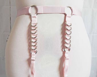 Pink Elastic D Ring Garter Belt, Pink D Ring Garter Belt, Pink Elastic Garter Belt, Pink O Ring Garter Belt, Burlesque Garter Belt