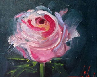 A Pink rose still life 8x8 oil painting Art by Delilah