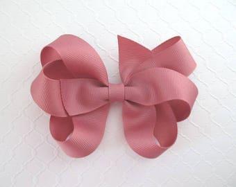 Large Mauve Hair Bow ~ Toddlers Girls Elegant Grosgrain Ribbon Hair Bow