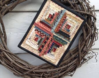 """Miniature LOG CABIN QUILT,  6 1/2"""" x 8 1/2"""", Scrappy Quilt, Mini Quilt, Civil War Reproduction Fabrics, Traditional, Hand Quilted, Scrappy"""