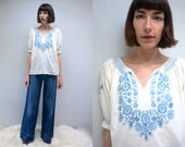 HUNGARIAN BLOUSE PEASANT Blouse Embroidered Blouse 70s Blouse Boho Top Cotton Blouse Bohemian Blouse Summer Top Hippie Top Folk Top 70s Top