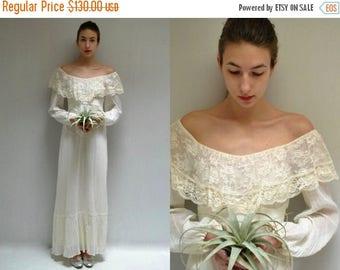 sale 25% off - 70s Boho Wedding Dress  //  Off the Shoulder Dress  //  WOODLAND MUSE