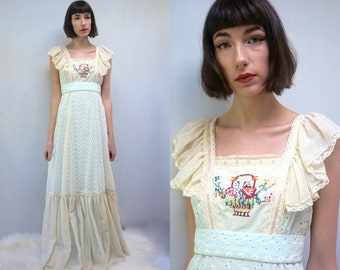 BOHO BRIDESMAID Dress Bohemian Dress Pinafore Dress Hippie Dress Prairie Dress Maxi Dress 70s Dress Embroidered Dress Cotton Dress