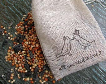 125 Bird seed filled muslin drawstring bags- hand stamped with lovebird image and quote