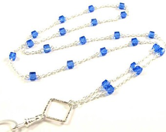 CLEARANCE-Women's Lanyard, Beaded Lanyard, Badge Necklace, Blue Bead Lanyard, Silver Bead Lanyard, Breakaway Lanyard, Pretty ID Lanyard