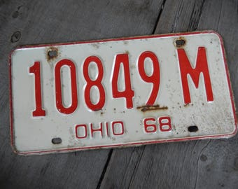 License Plates Ohio Vintage 1969 Rustic White Garage, Industrial, Man Cave, Pub, Bar Decor, Barn, Wall Hanging, Old Sign Home Decor