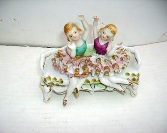 Vintage Porcelain Ballerinas Duo on Settee/Ruffled Tutu/Old Japan/Signed