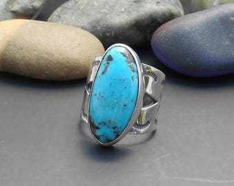 Kingman turquoise ring, southwest ring, silver ring, turquoise sterling, size 7 ring, size 8 ring, statement ring, genuine turquoise