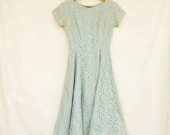 Vintage 40s-50s Blue Cotton Lace Dress By Alfred Werber Of Saint Louis/Retro/Mid Century