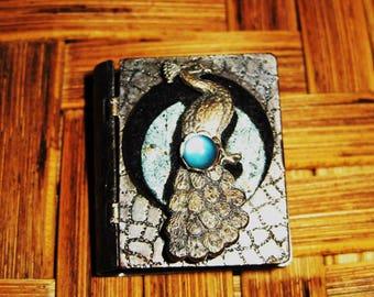 "Miniature metal ""book"" locket style brooch-SALE"