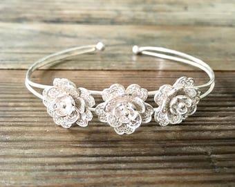 Sterling Silver Flower Bracelet