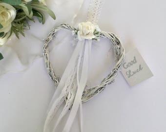 good luck bride & groom wedding shabby chic hanging heart keepsake gift