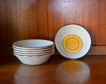 vintage midcentury retro english ceramic pottery bowls / midcentury modern / eve midwinter pottery