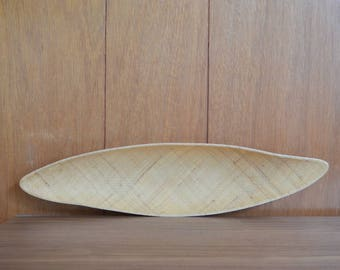 vintage midcentury abaca grainware tray / boho modern / summer tiki / atomic home decor