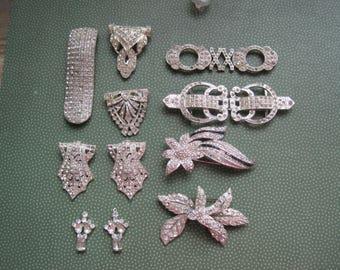 Destash Rhinestone Jewelry Lot Buckles for Harvesting Repair Upcycle Crafts Destash Repurpose