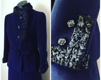 Vintage Classic Navy Suit With Fur Trim And Diamond Buttons / Jacket And Matching Skirt