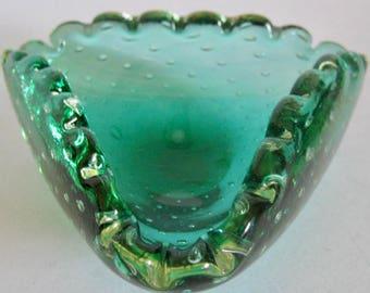 Murano MCM Venetian Label Green Glass Controlled Bubbles Scallop Edge Ashtray Bowl Art Glass Retro 1960s