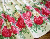 Cabbage Roses Half Apron - Pink Red Cabbage Roses, Green Floral, Holly & Pinecones Vintage Christmas Fabric - Handmade Cottage Chic Aprin