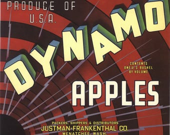 Original vintage apple crate label 1940s Dynamo Wenatchee Washington State electricity modernism typography