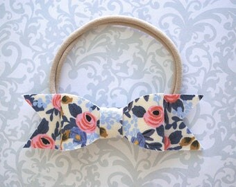 Rifle Paper Co Baby Bow, Baby Bow Headband, Floral Bow Headband, Floral Baby Bow, Blue Baby Bow, Baby Headband, Toddler Headband, Baby Girl
