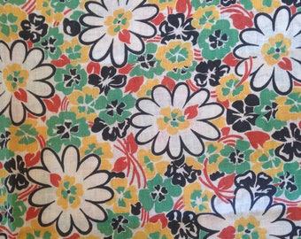 Vintage Floral Cotton Fabric Flour Sack Feed Sack Feedsack Daisy Daisies