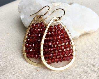 Garnet Earrings, January Birthstone, Red Earrings, Boho Earrings