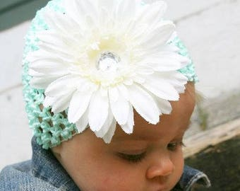 Baby Flower Hat- Light Green Beanie With Flower