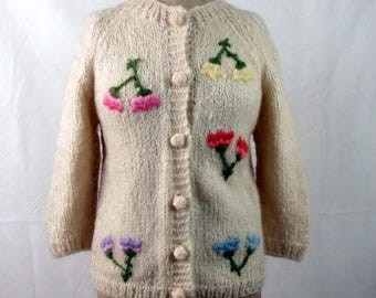 Vintage  Wool and Mohair Hand Knitted Italian Cream Sweater Cardigan Embroidered Flowers Small/Medium