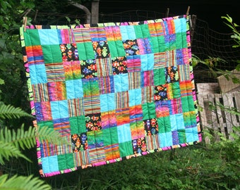 Colorful lap, baby, crib or twin patchwork quilt coverlet.