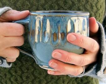 Handmade Ceramic Mug, Coffee Mug, Pottery Mug, Tea Mug, Faceted Blue Limited Edition Gift Idea for him, Artisan Pottery by Licia Lucas Pfadt