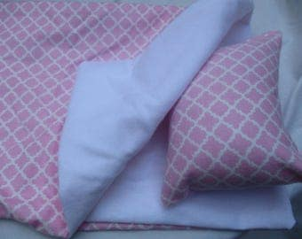 Pink and White Doll Sleeping Bag, doll bedding for 18 inch doll