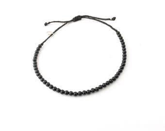 Black tourmaline bead bracelet, tourmaline adjustable bracelet, waxed thread with beads bracelet, boho beach bracelet