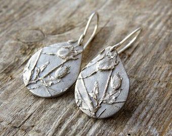 Winter Earrings, Organic Earrings, Silver Earrings, Botanical Jewelry, Floral Earrings, Dangle Earrings, Flower Earrings