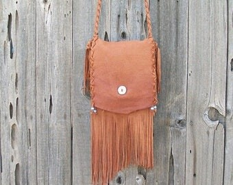 ON SALE Fringed leather purse ,  Crossbody handbag ,  Handmade leather bag ,  Designer handbag