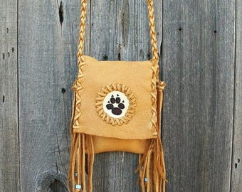ON SALE Fringed leather handbag with wolf  totem ,  Leather crossbody phone bag ,  Leather phone bag , Leather handbag