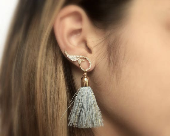 Gold Ear Climber Tassel Earrings